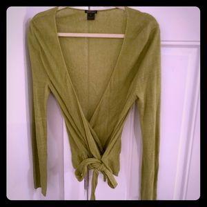 Lafayette 148 Lime green Linen Wrap Top!